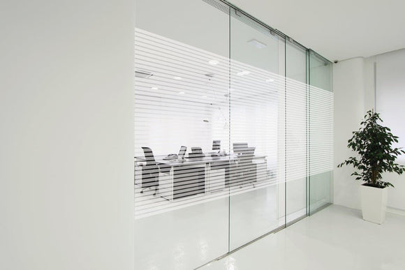 Patterned Decorative White Frosted Window Film - Privacy Frosted Glass Film SIRI LINE PATTERN