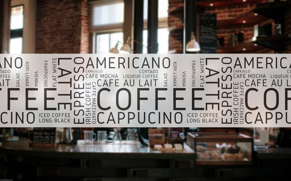 C16 -  Cafe banner frosted window privacy partition - screening window partition decal.