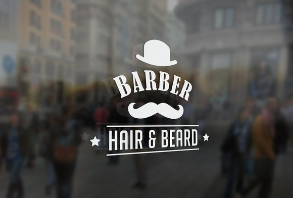 B18 - Bespoke barbers moustache sign, vinyl cut window sticker, contour cut, for commercial windows/glass or walls.