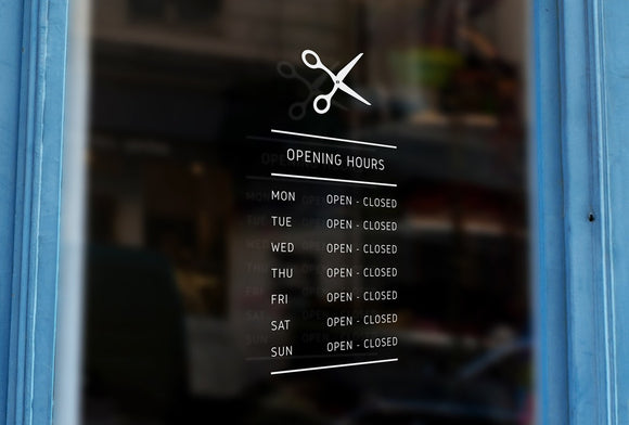 Bespoke scissors silhouette opening hours, a vinyl cut window sticker, contour cut decal, for commercial windows/glass or walls.