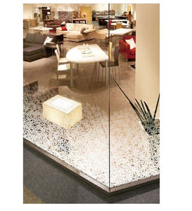 Patterned Decorative White Frosted Window Film - Privacy Frosted Glass Film Flowers PATTERN