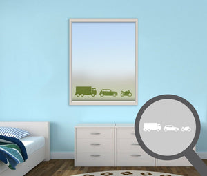 Lorry, Car & Motorbike cut out, bespoke, custom, frosted childrens window film