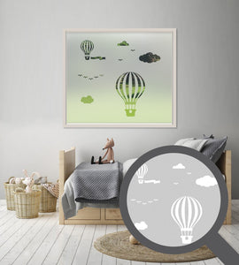 Hot air balloon scene cut out, bespoke, custom, frosted childrens window film