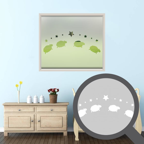 Counting sheep cut out, bespoke, custom, frosted childrens window film