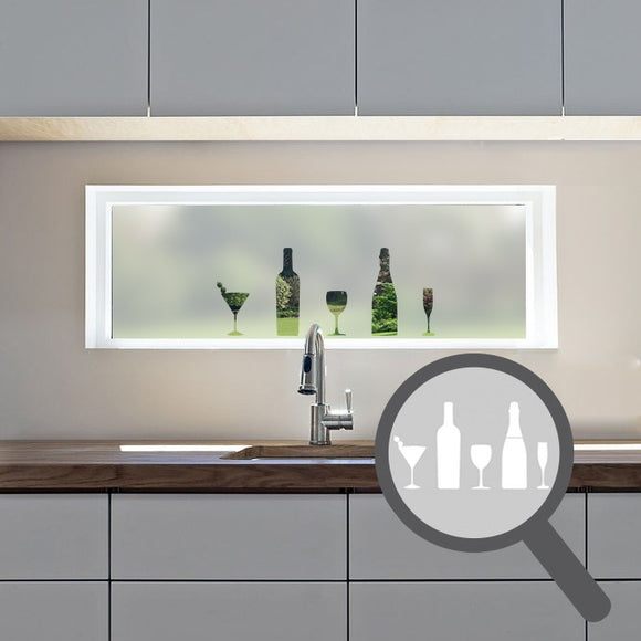 Wine glass & bottle cut out, bespoke, custom, frosted kitchen window film