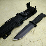 Fixed Blade Hunting Knife - Rubber Grip and Sheath