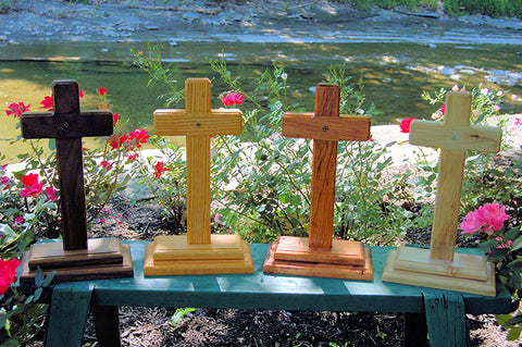 Four Standing Wooden Memorial Crosses