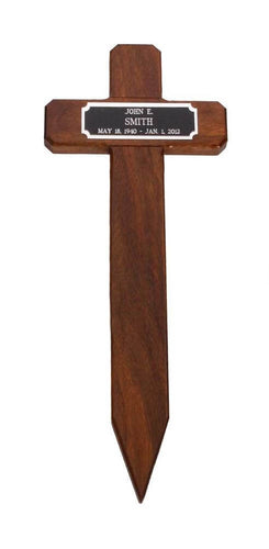 Pet Memorial Cross in Walnut