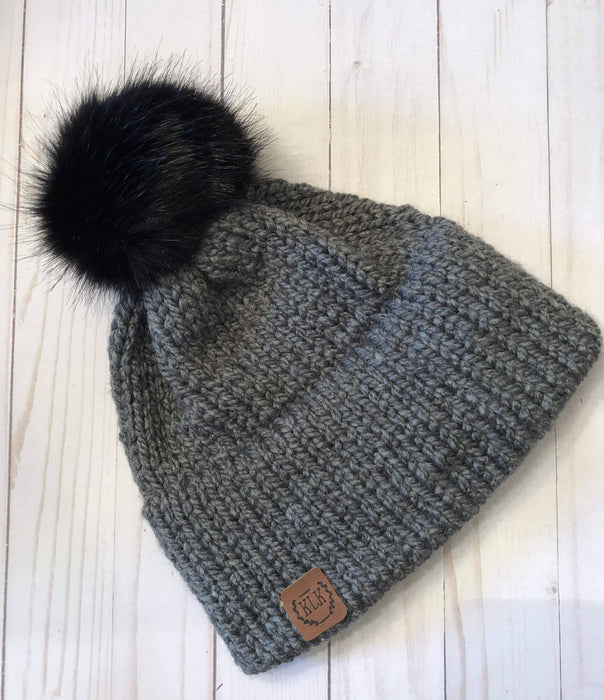 Super Cozy Double Brim Hand Knit Hat | Beanie Hat | with detachable faux fur pom pom / Solid - Shop HamOnt