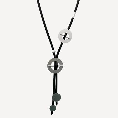 Long Circle Detailed Rubber Necklace - Shop HamOnt