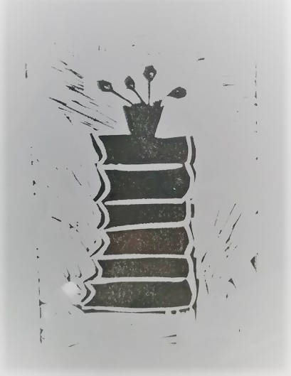Linocut Print - Books with Plant, silver