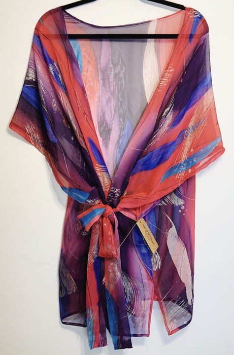 Exuberance Sheer Pure Silk Kimono-Sleeved Jacket with Belt - Shop HamOnt