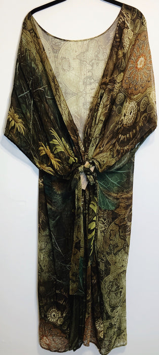 Atlas Sheer Long Pure Silk Kimono-Sleeved Duster with Belt - Shop HamOnt