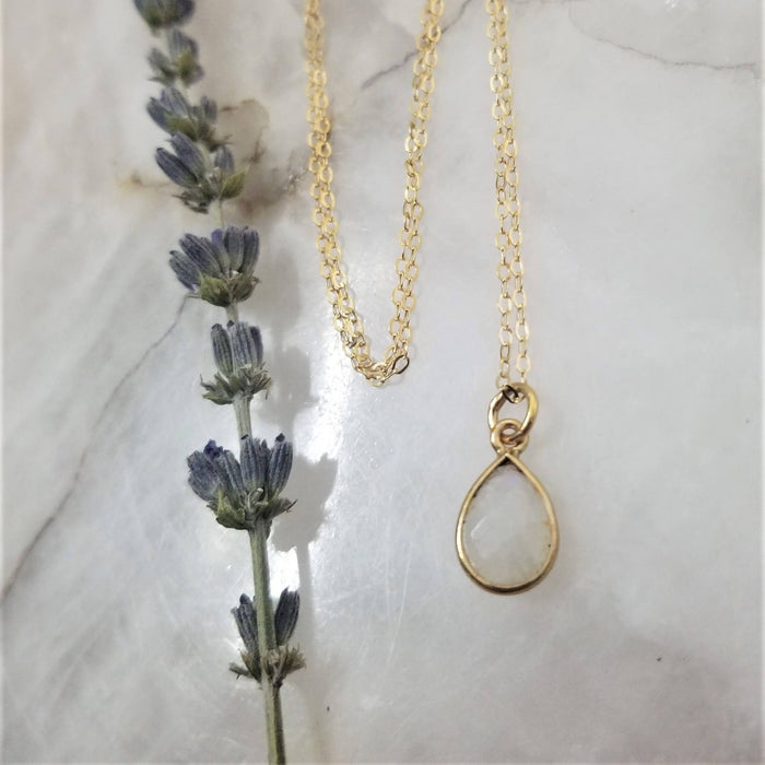 Rainbow Moonstone Tear Drop Necklace - Gold