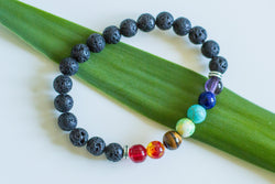 Essential Oil Diffuser Chakra Bracelet with Volcanic Rock - Shop HamOnt