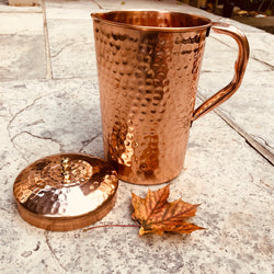 Pure Copper Water Pitcher - sariKNOTsari slow fashion Hamilton sustainable fashion gifts sari not sari Hamilton Fair trade  Ethical  Artisan made  Zero waste  Up-cycled Slow Fashion  Handmade  GTA Toronto Copper Pure Upcycled vintage silk handmade recycled recycle copper pure silk travel clothing hamilton