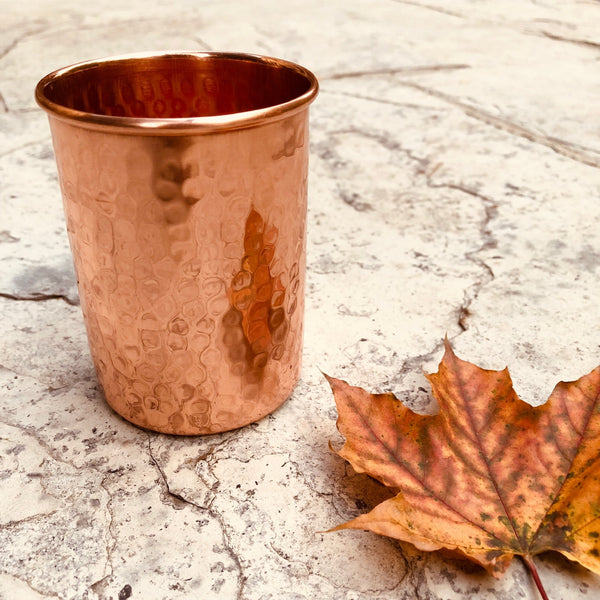 Pure Copper Tumbler - sariKNOTsari slow fashion Hamilton sustainable fashion gifts sari not sari Hamilton Fair trade  Ethical  Artisan made  Zero waste  Up-cycled Slow Fashion  Handmade  GTA Toronto Copper Pure Upcycled vintage silk handmade recycled recycle copper pure silk travel clothing hamilton