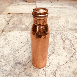 Pure Copper Water Bottle - sariKNOTsari slow fashion Hamilton sustainable fashion gifts sari not sari Hamilton Fair trade  Ethical  Artisan made  Zero waste  Up-cycled Slow Fashion  Handmade  GTA Toronto Copper Pure Upcycled vintage silk handmade recycled recycle copper pure silk travel clothing hamilton