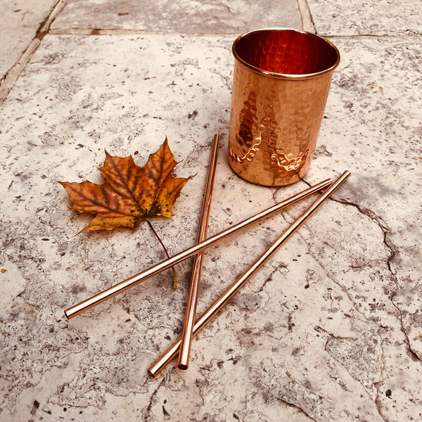 Pure Copper Straw - sariKNOTsari slow fashion Hamilton sustainable fashion gifts sari not sari Hamilton Fair trade  Ethical  Artisan made  Zero waste  Up-cycled Slow Fashion  Handmade  GTA Toronto Copper Pure Upcycled vintage silk handmade recycled recycle copper pure silk travel clothing hamilton