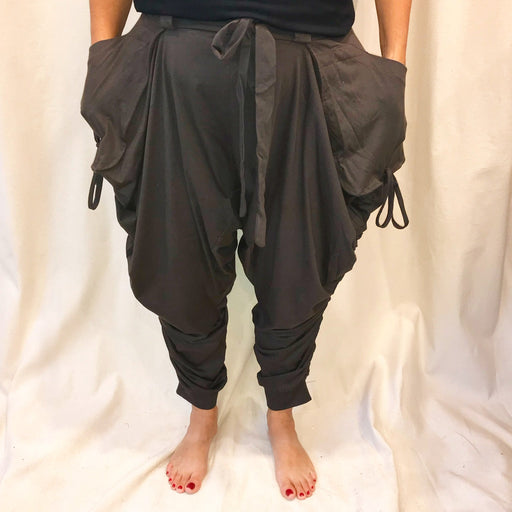 Taupe Cotton Harem Pants - Shop HamOnt
