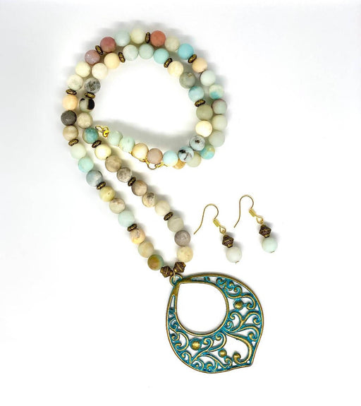 Amazonite necklace and earrings - Shop HamOnt