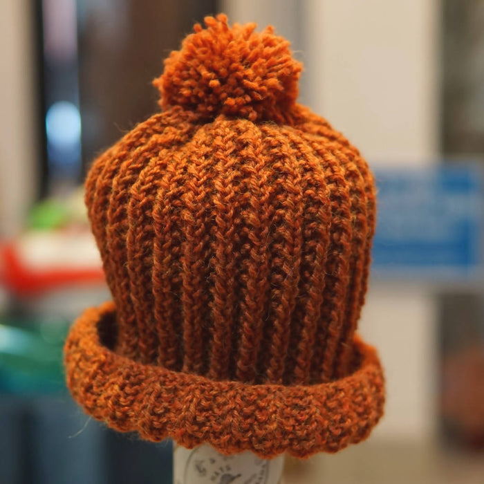 ellënoire Curly Safe Hats - Hand Knit Burnt Orange Toque with Pom-Pom