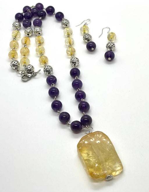 Amethyst and citrine necklace - Shop HamOnt