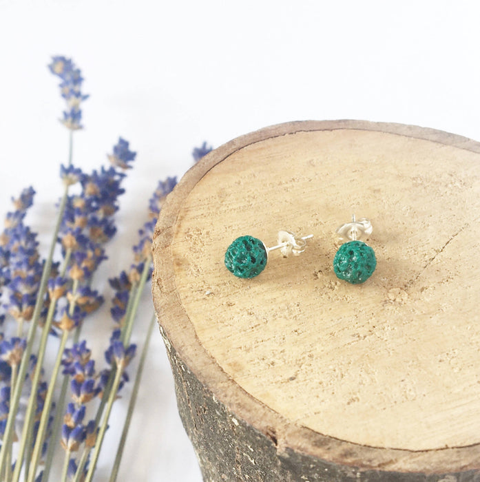 Emerald Green Diffuser Earrings (6mm) - Shop HamOnt