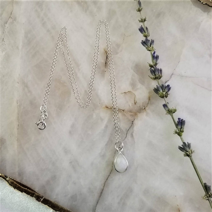 Rainbow Moonstone Tear Drop Necklace - Silver