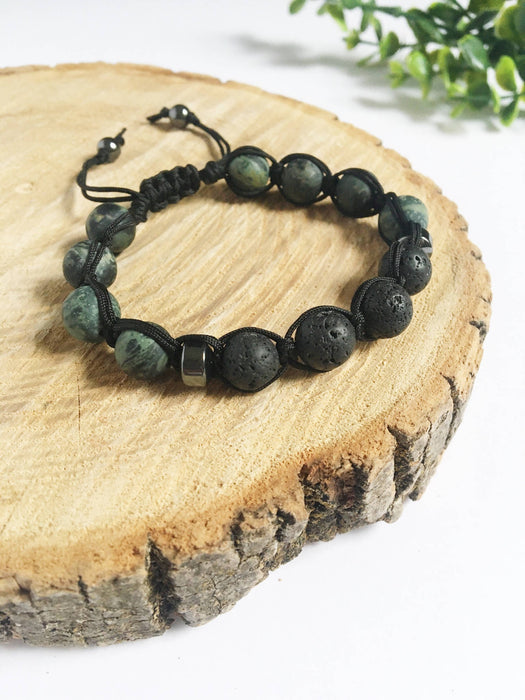 Men'a Jasper + Lava Adjustable Bracelet - Shop HamOnt
