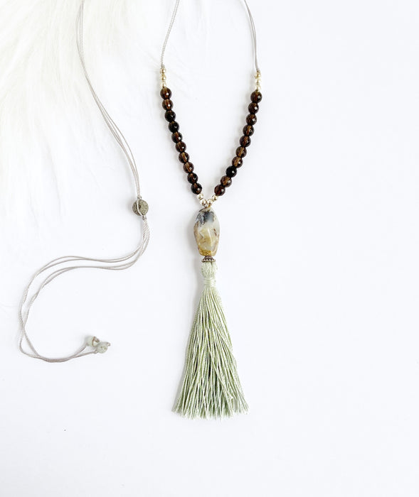 Opal & Smokey Quartz Necklace - Shop HamOnt
