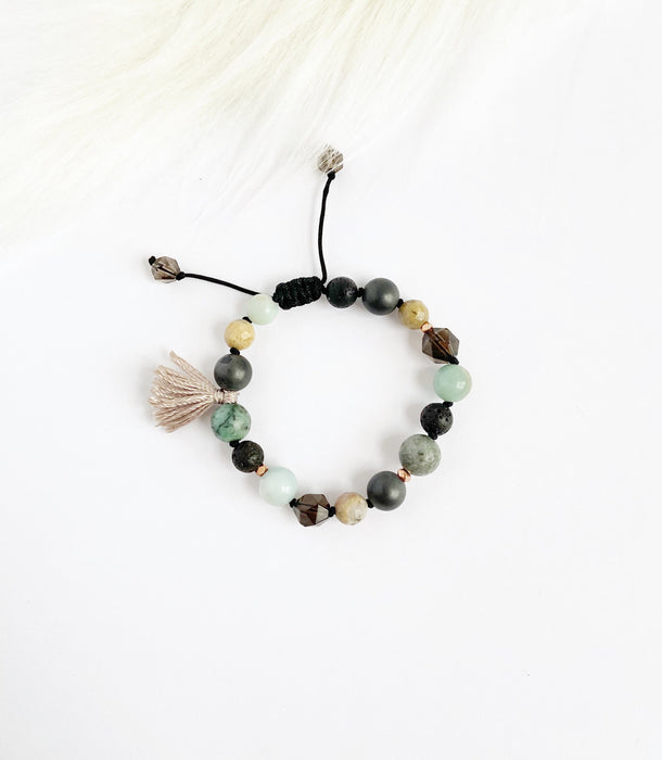 Smokey Quartz & Amazonite with Tassel - Shop HamOnt