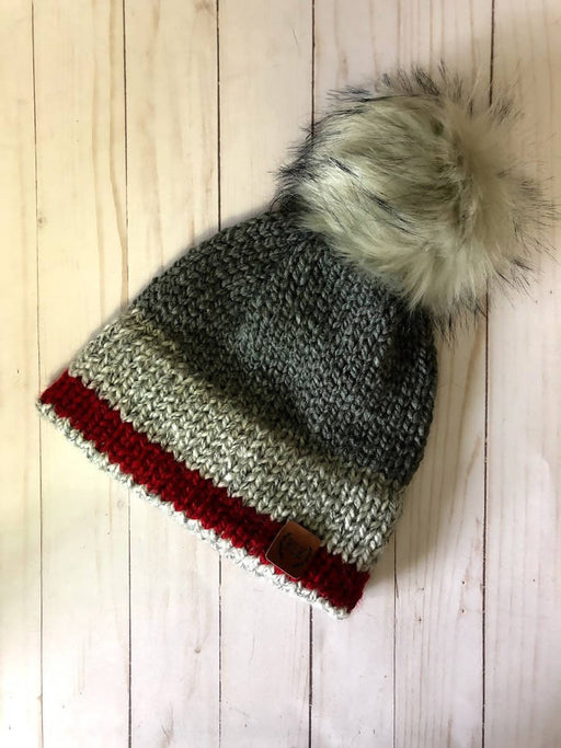 Super Cozy Double Brim Hand Knit Hat | Beanie Hat | with detachable faux fur pom pom / Cabin Style / Monkey / Grey White and Red - Shop HamOnt