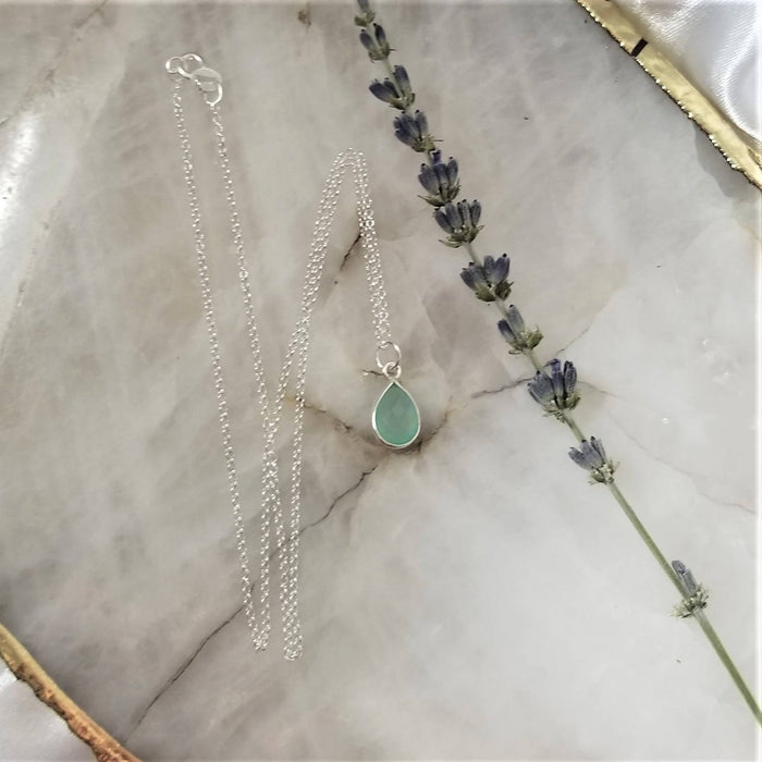 Chalcedony Tear Drop Necklace - Silver