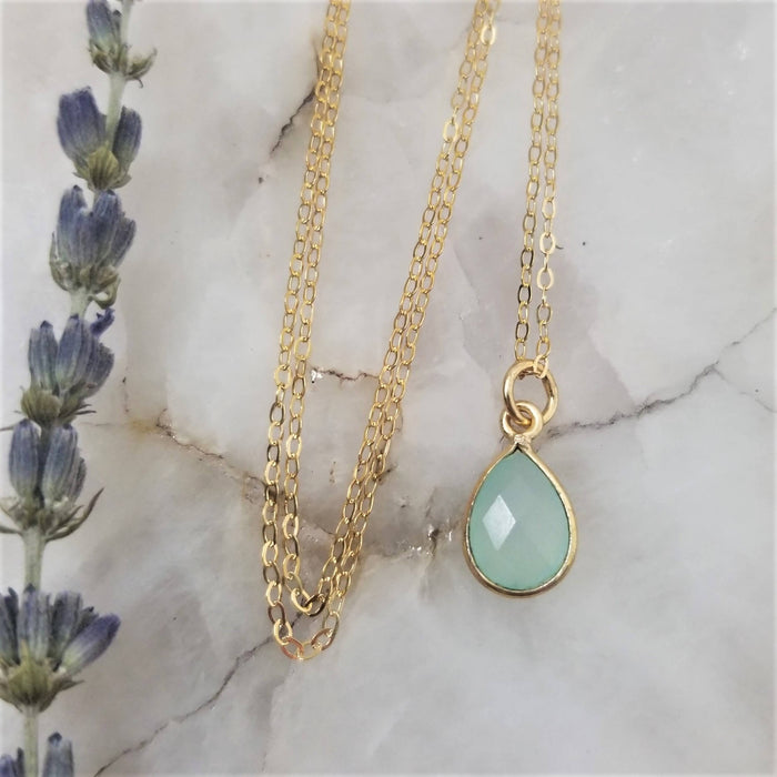 Chalcedony Tear Drop Necklace - Gold