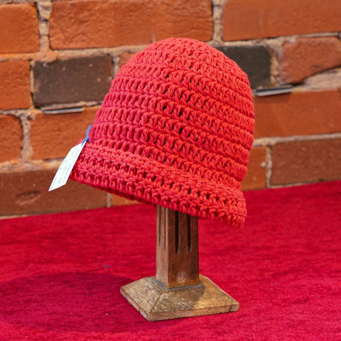 ellënoire Curly Safe Hats - Red Cotton loose weave Hat