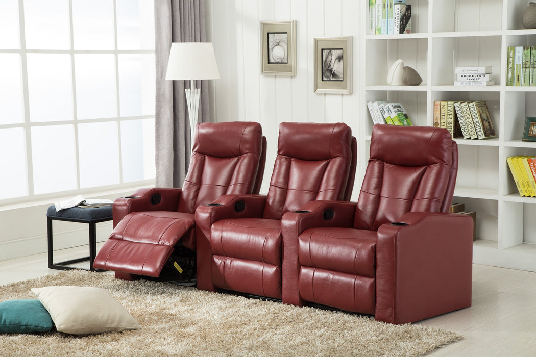 6633-PC Leather Gel Reclining Theater Set