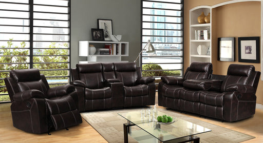7688- 3 PC Leather Gel Glider Reclining Set.