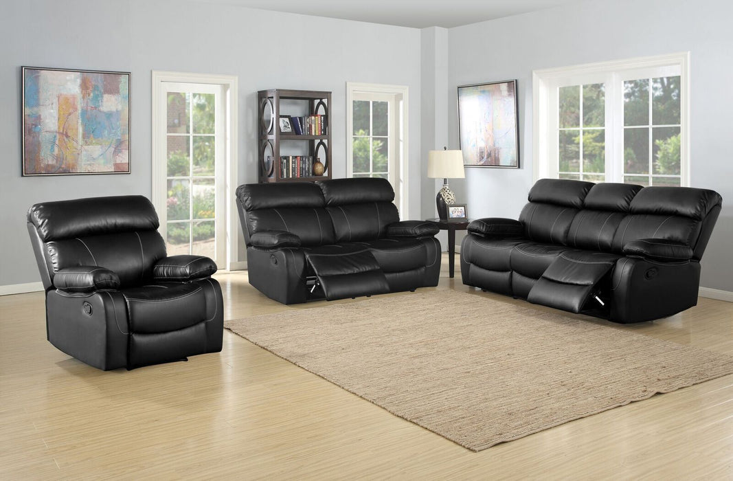 7769-3 PC Faux Leather Black Reclining Set