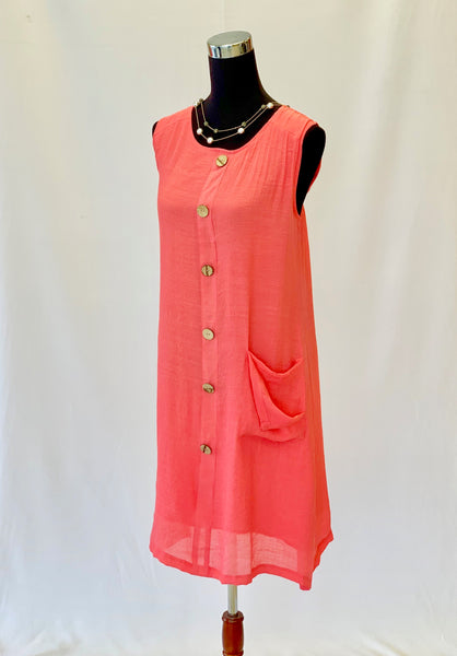 The Ashley Dress in Coral