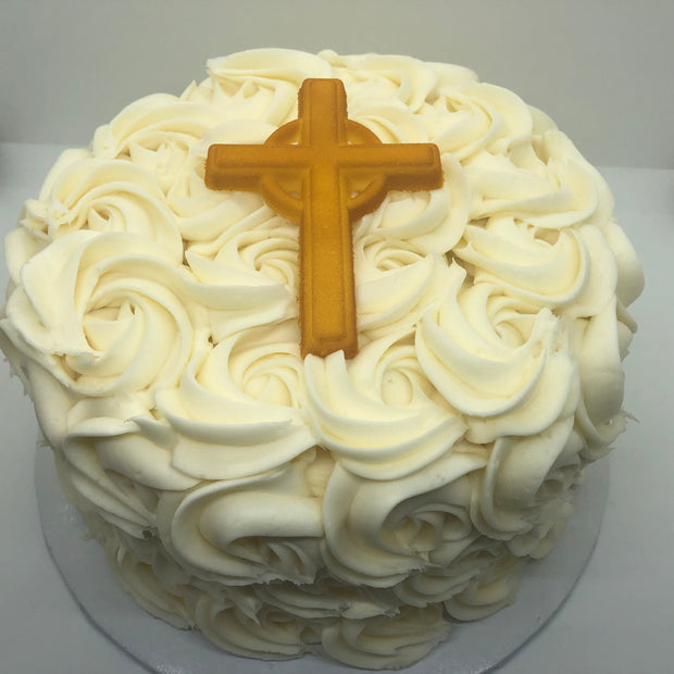 First Communion Rosette and Cross Cake