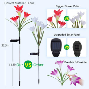 New-Upgraded Artificial Lily Solar Garden Stake Lights (2 Packs Of 8 Lilies)