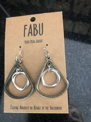 Bronze/Silver Hoop Earrings by Fabu