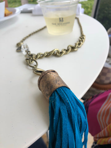 Vintage necklace with Aqua Leather Tassel