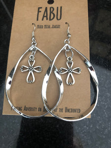 Silver Cross Hoops Earrings by Fabu