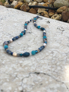 Blue & multi beaded necklace
