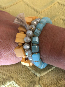 Wooden,beaded,metal beaded bracelet set