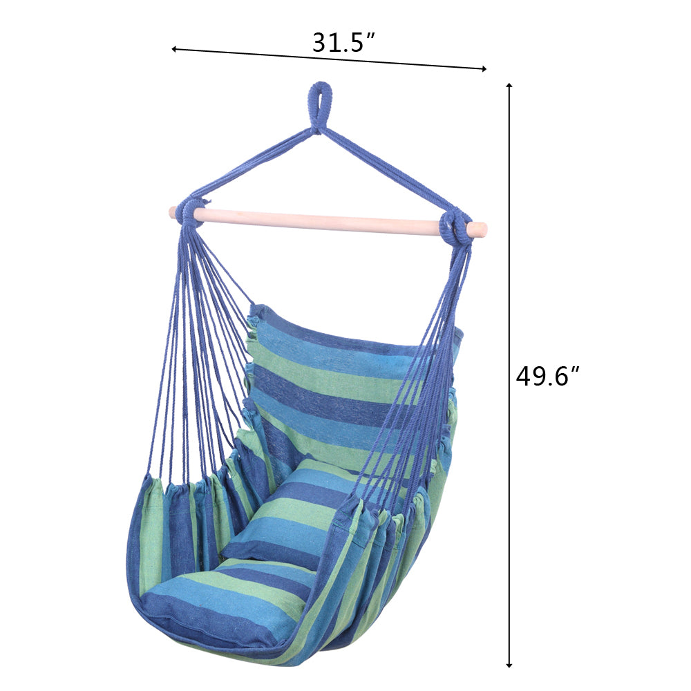 Distinctive Cotton Canvas Hanging Rope Chair with Pillows
