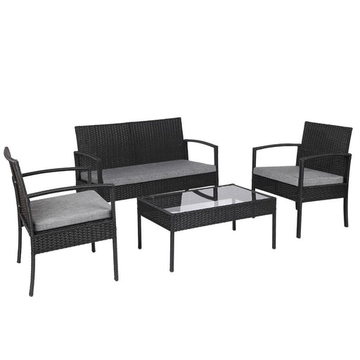 4 PCS Outdoor Patio Rattan Wicker Conversation Set with Table