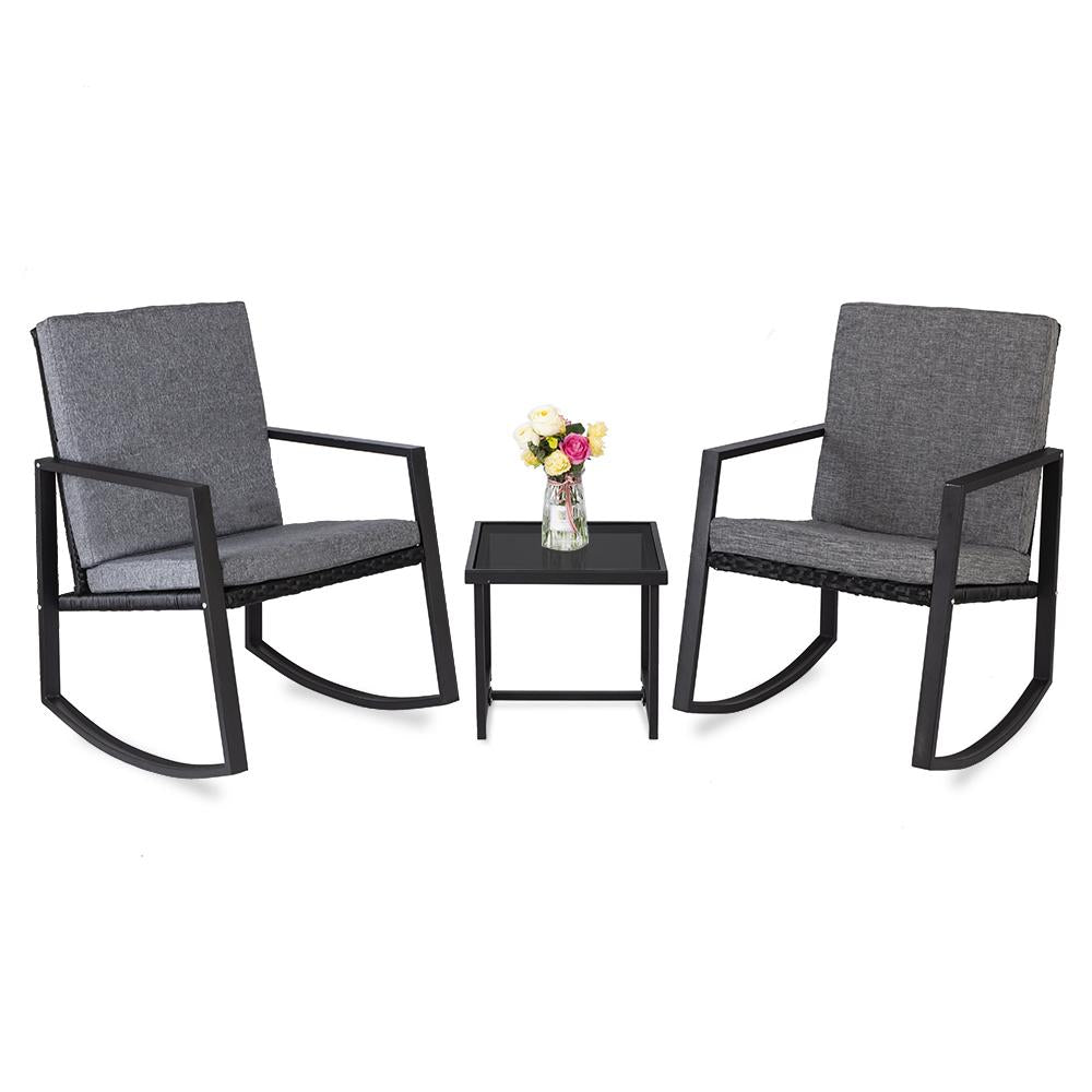 3 PCS Patio Rocking Chairs Set Outdoor Furniture with Glass Coffee Table